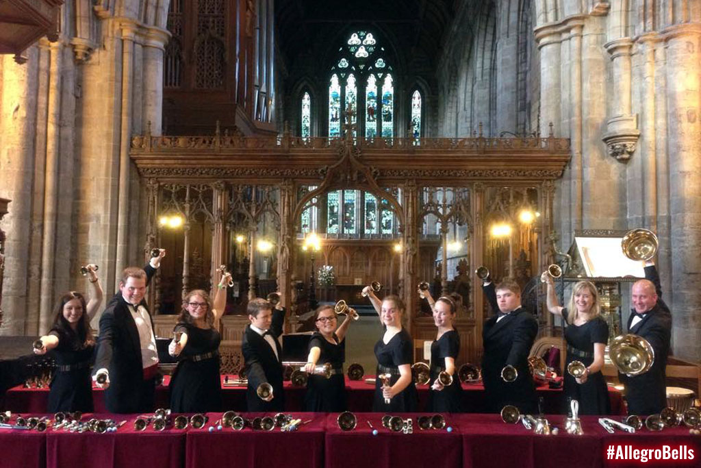 The Allegro Handbell Ensemble performs at at Dunblane Cathedral in Scotland