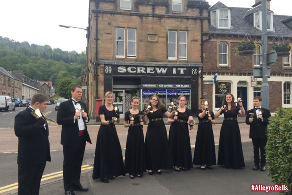The Allegro Handbell Ensemble prepares for its first concert in Callander, Scotland.